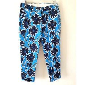 J.Crew Blue Floral Crop Pants